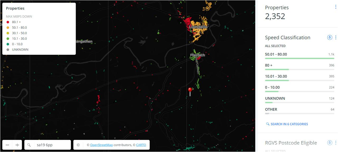 Broadband map of Llandeilo area