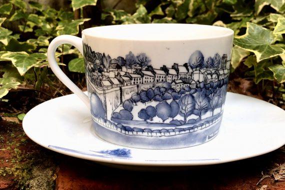 Hand painted porcelain Llandeilo cup and saucer